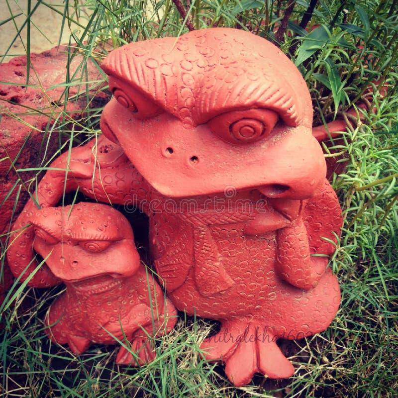 青蛙雕象 免版税库存照片