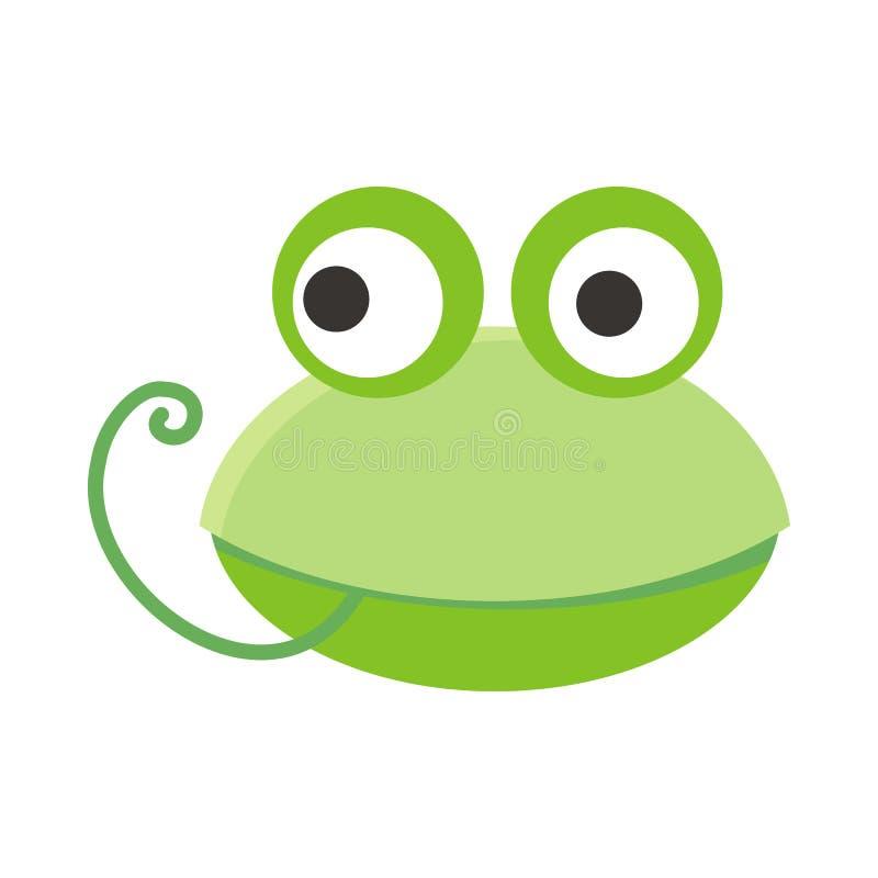 青蛙面孔在平的设计的传染媒介例证 向量例证