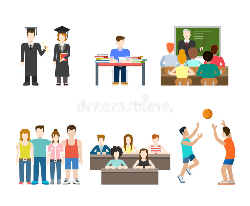 青年人在学校,大学,学院:学生教育 库存例证