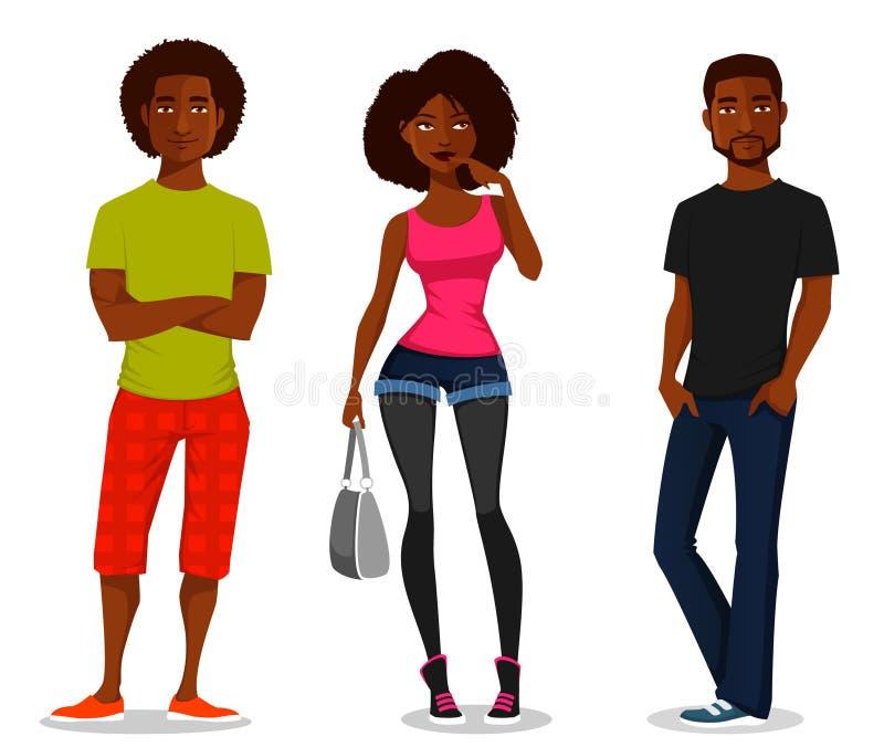 青年人的动画片例证 向量例证