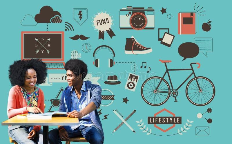 青年社会媒介技术生活方式概念 库存例证