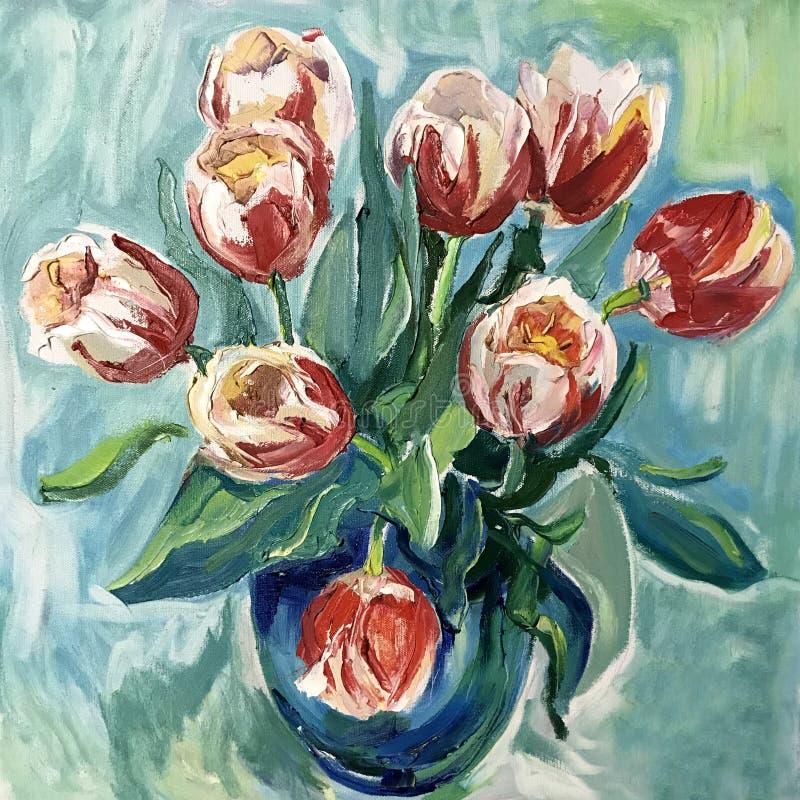 静物画在一个花瓶开花红色郁金香 库存例证