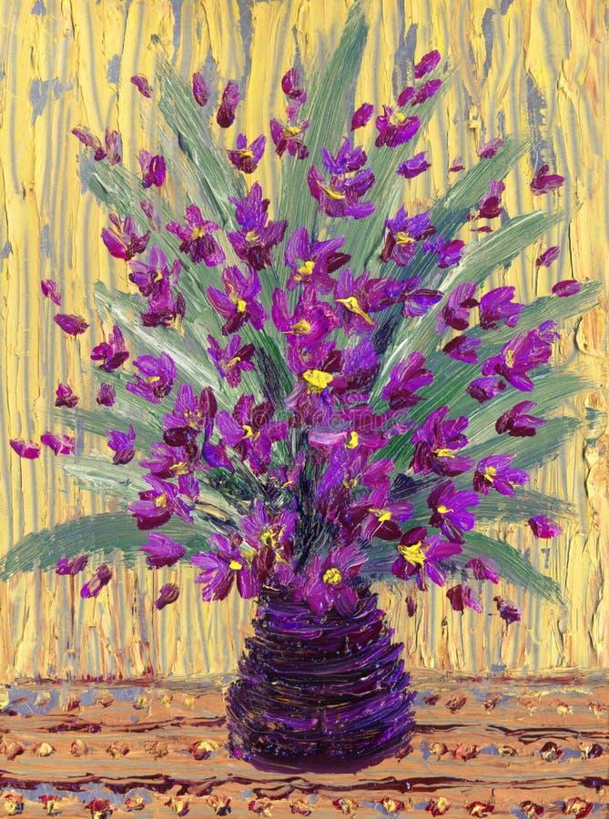 静物画油。紫色花花束  库存例证