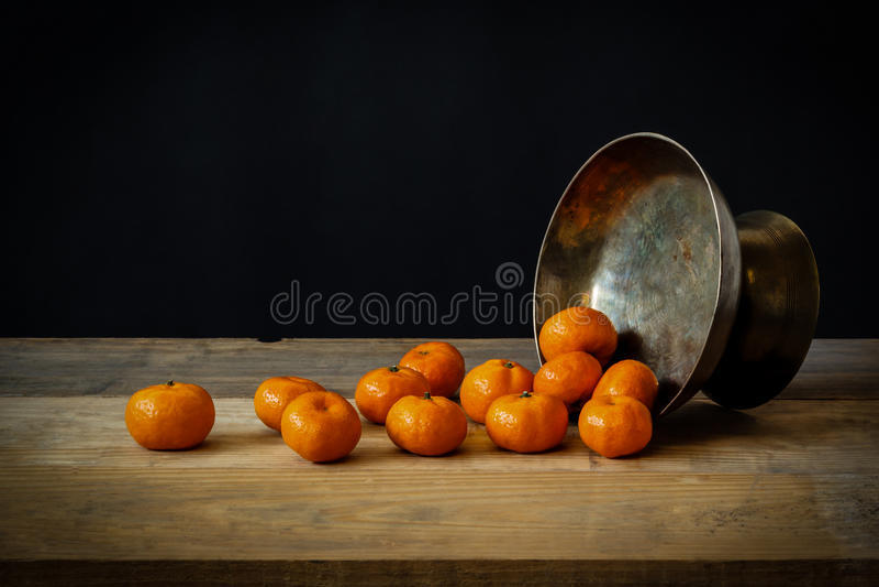 静物画用成熟桔子 免版税库存照片