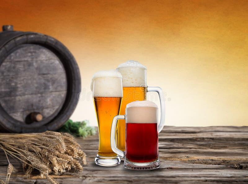 静物画用桶装啤酒 库存照片