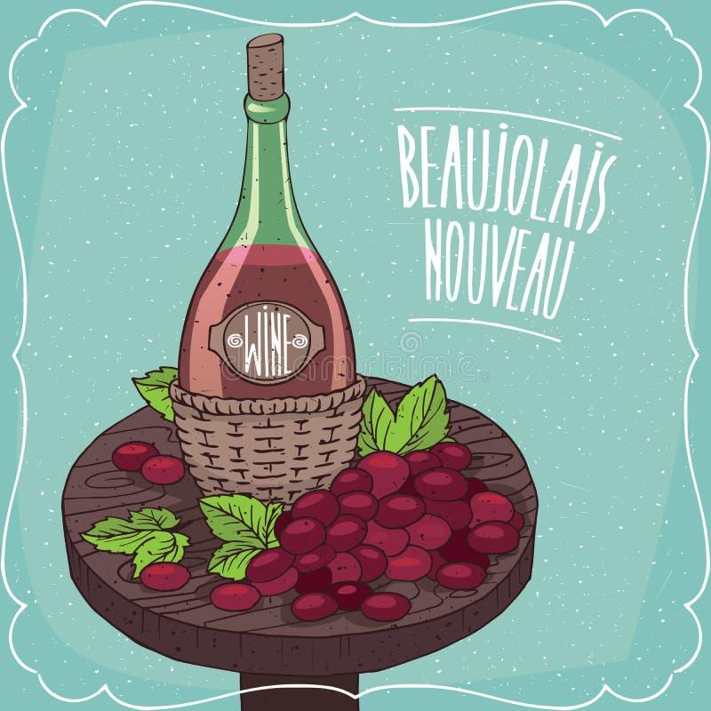 静物画用红葡萄酒和葡萄 向量例证