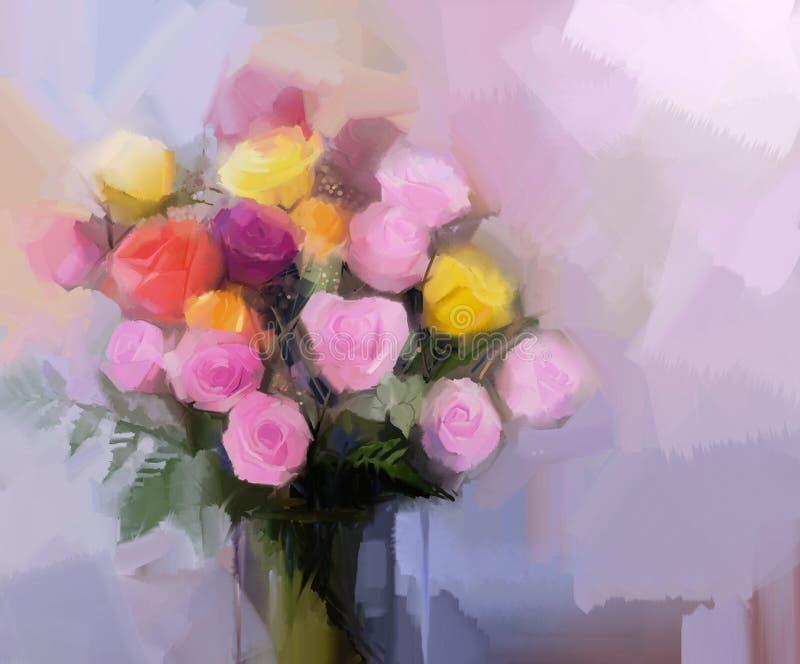 静物画花花束 油画红色和黄色玫瑰在花瓶开花 向量例证