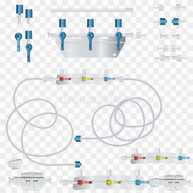 静脉内注入的系统与一个转换的设备 部分 皇族释放例证