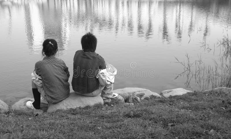 静音亚洲的夫妇 免版税库存图片