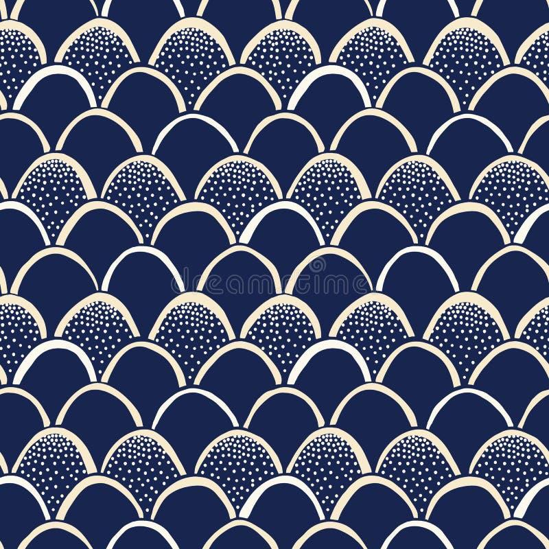 靛蓝手拉的日本风格Fishscale传染媒介无缝的样式 Katazome抵抗被洗染的印刷品 点刻纹理 库存例证