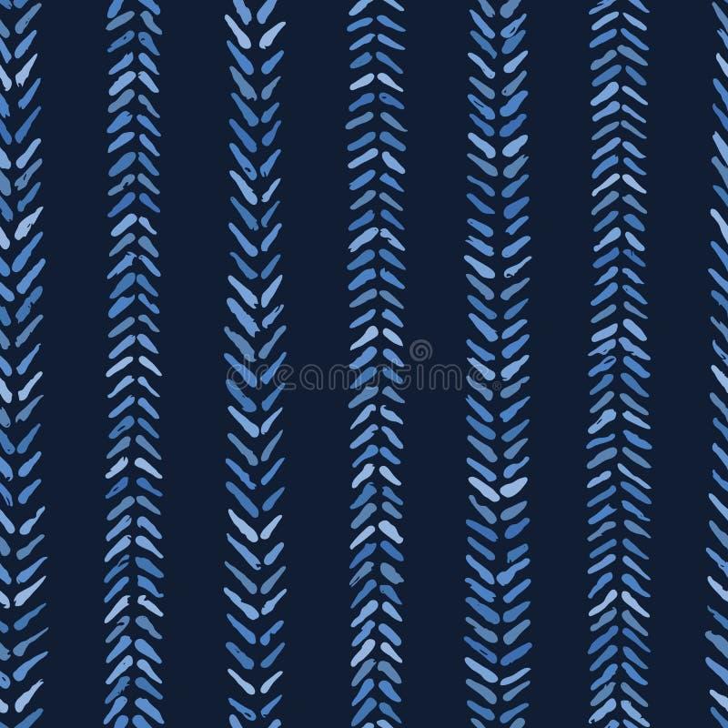 靛蓝色图表人字形针无缝的样式 现代V形臂章条纹传染媒介例证 向量例证