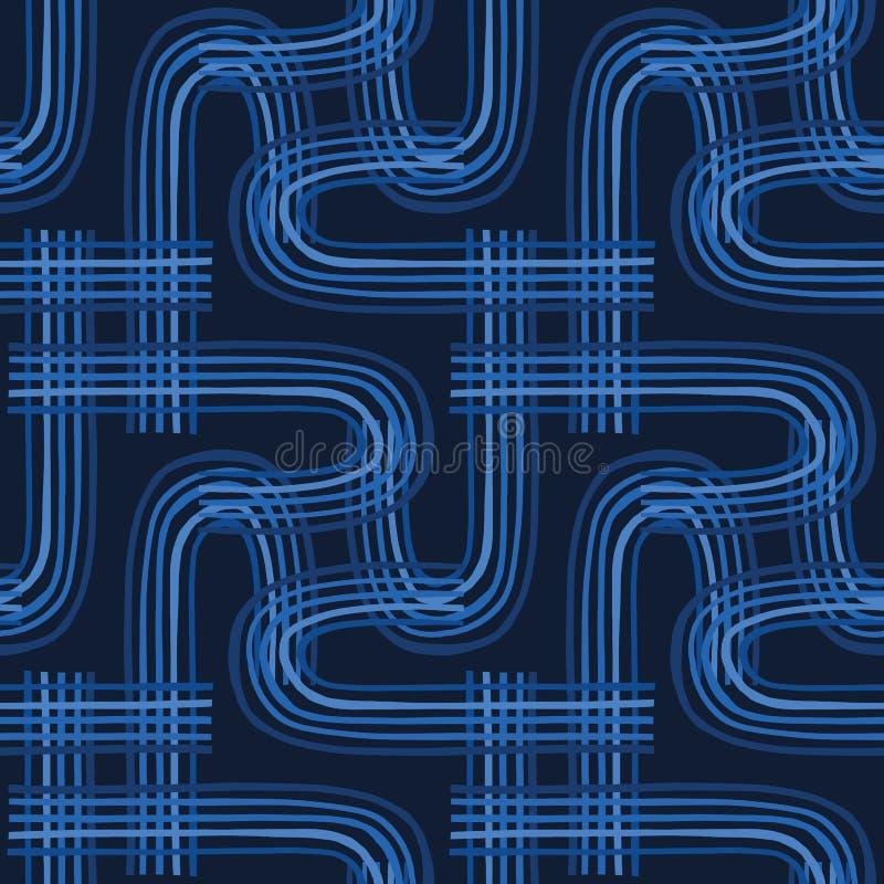 靛蓝色图表摘要曲线无缝的样式 现代几何电路传染媒介例证 向量例证