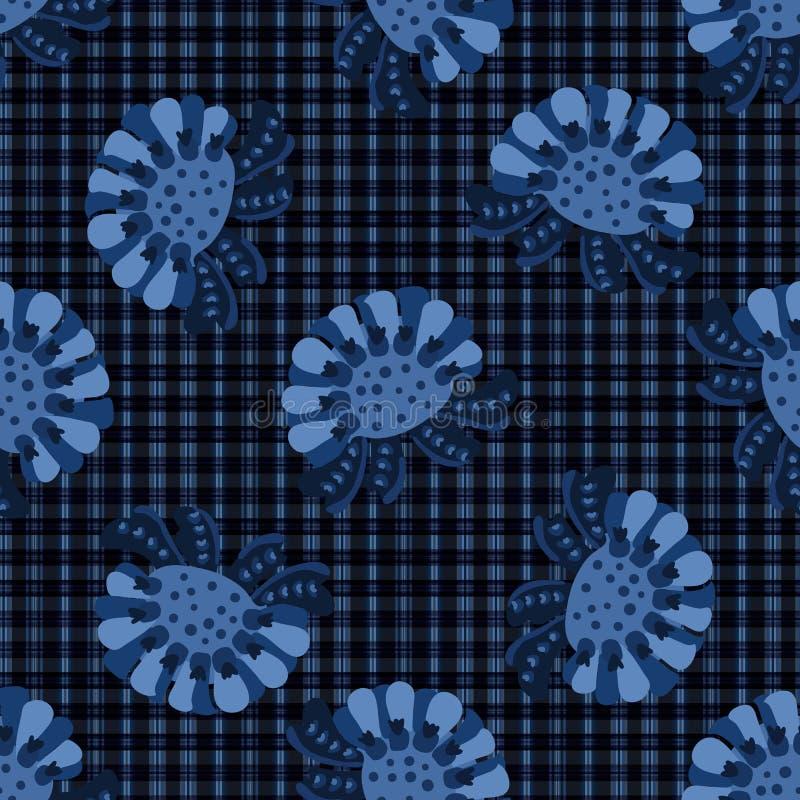 靛蓝色大胆的花主题格子呢传染媒介样式 无缝的重复的印刷品 库存例证