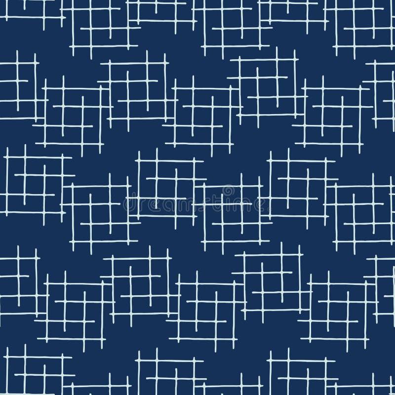 靛蓝色日本风格Criss十字架排行无缝的传染媒介样式 向量例证