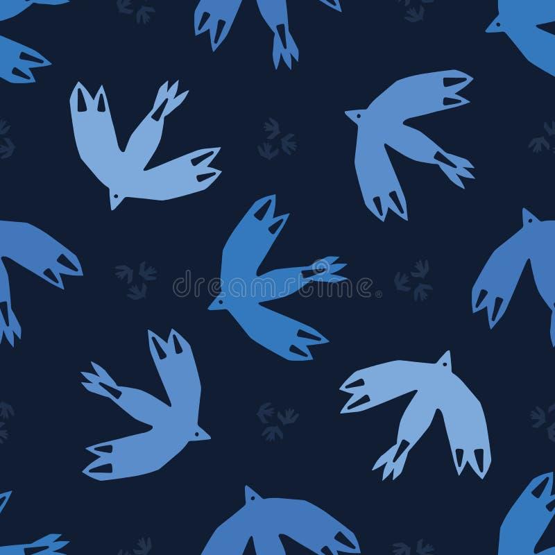 靛蓝色飞行被删去的形状的摘要鸟 传染媒介样式无缝的背景 手拉的matisse称呼拼贴画图表 库存例证