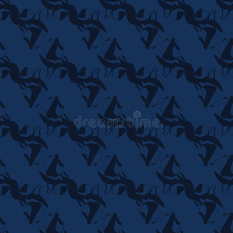 靛蓝色Shibori染料无缝的传染媒介样式 手拉的日本风格 向量例证