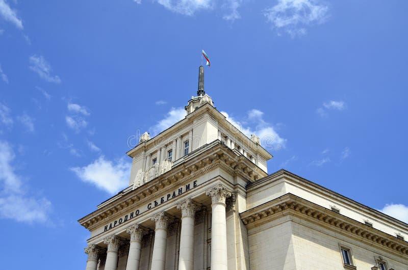 索非亚,保加利亚-缓慢地编译 一院的保加利亚议会(保加利亚的国民大会的位子) 免版税库存照片
