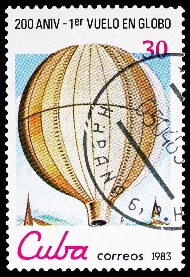 非供以人员的Montgolfier,1783,二百周年第1次公开飞行航空学serie,大约1983年 免版税库存图片