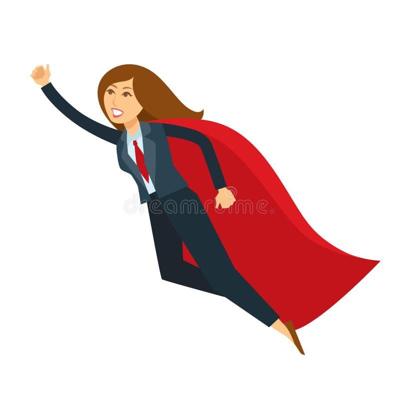 非凡的女性或超级妇女办公室经理飞行用手传染媒介漫画人物象 皇族释放例证