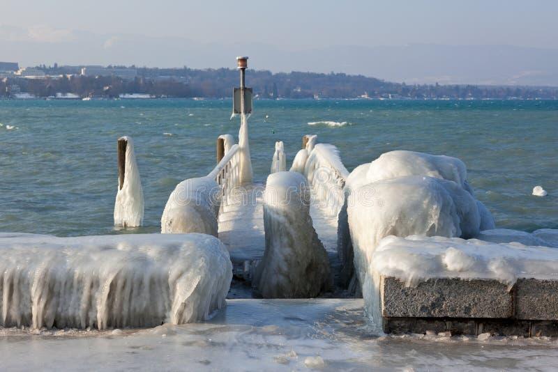 非常冷的温度给冰并且结冰在湖Leman Bord 免版税图库摄影