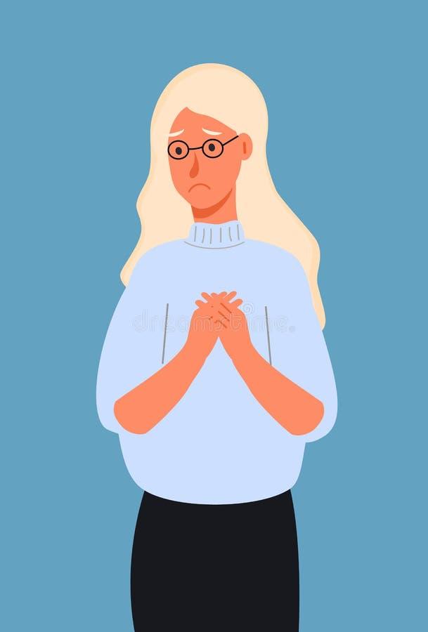 非常哀伤或沮丧的年轻女人 被子的概念,指责,祷告,恳求, 皇族释放例证