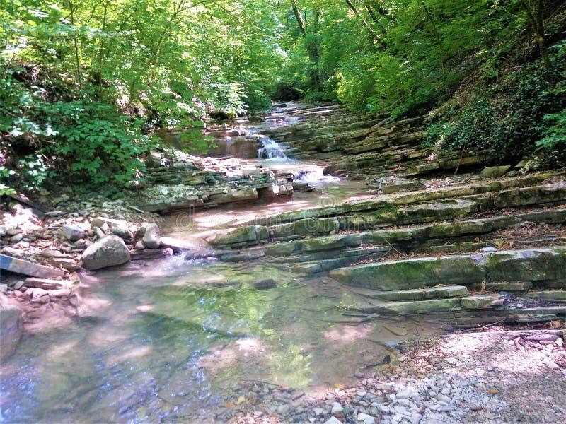 非常在山的美丽如画的小河 库存图片