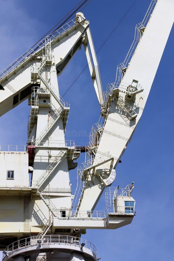 非常大造船厂起重机,结构的细节细节 库存照片