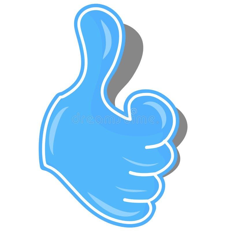 非常好手势蓝色贴纸  库存例证