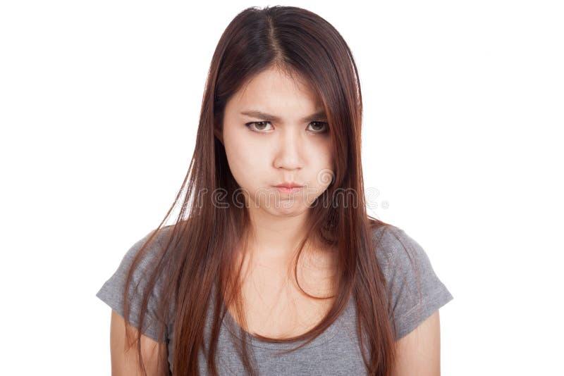 非常恼怒年轻亚裔的妇女 库存图片