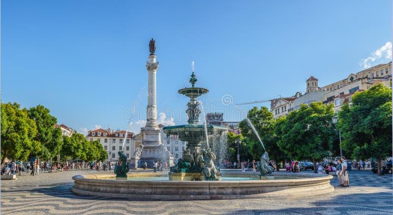 非常旅游地方在街市里斯本- D 佩德罗IV正方形-葡萄牙,欧洲 库存图片