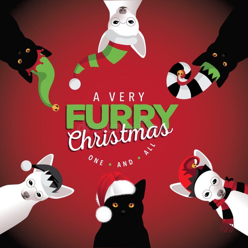 非常毛茸的圣诞节狗和猫 皇族释放例证