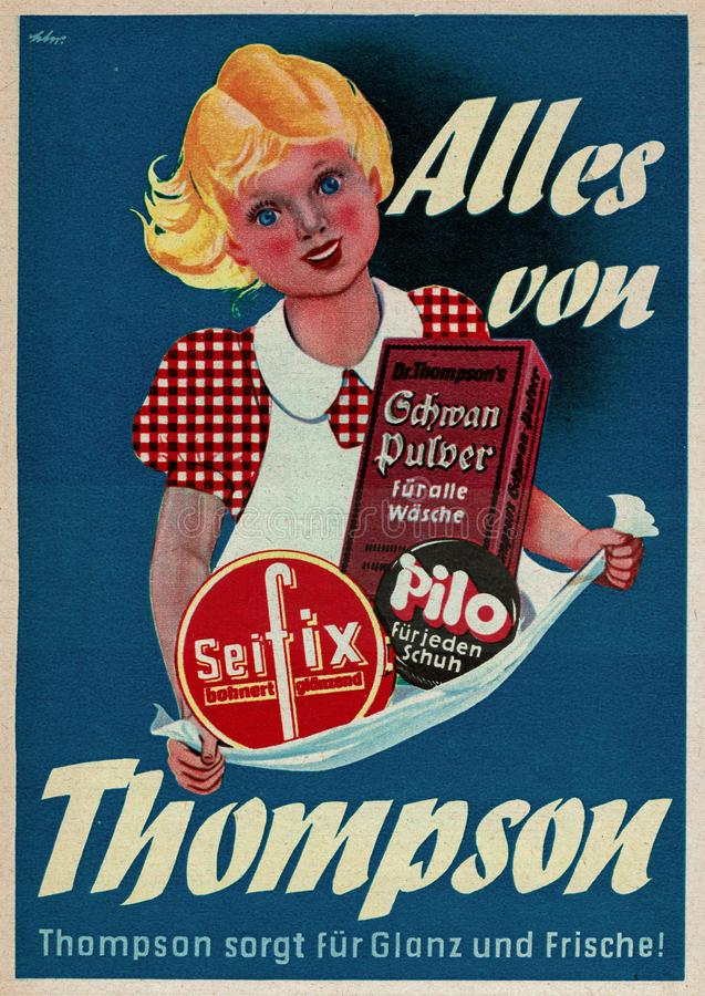 非常汤普森清洁产品的老葡萄酒广告在德国 库存照片