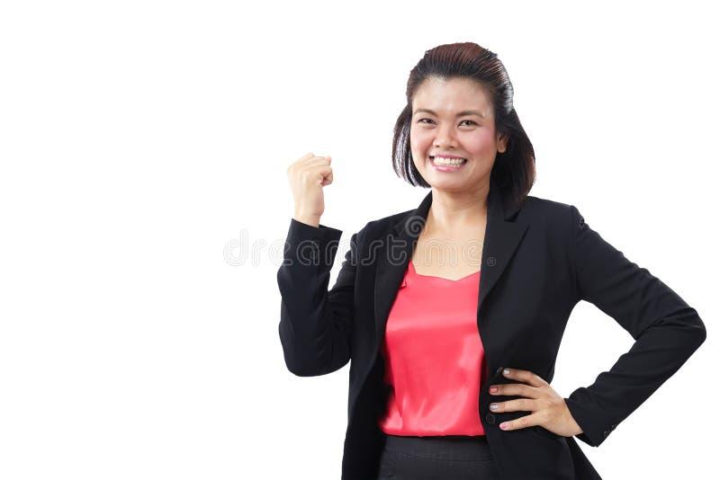 非常激动成功的执行委员,愉快的微笑的女商人 亚洲女商人是人表示拳头泵浦 免版税库存照片