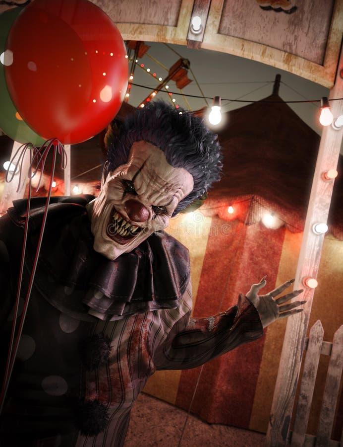 非常热切地邀请的小丑欢迎您到马戏入口 向量例证