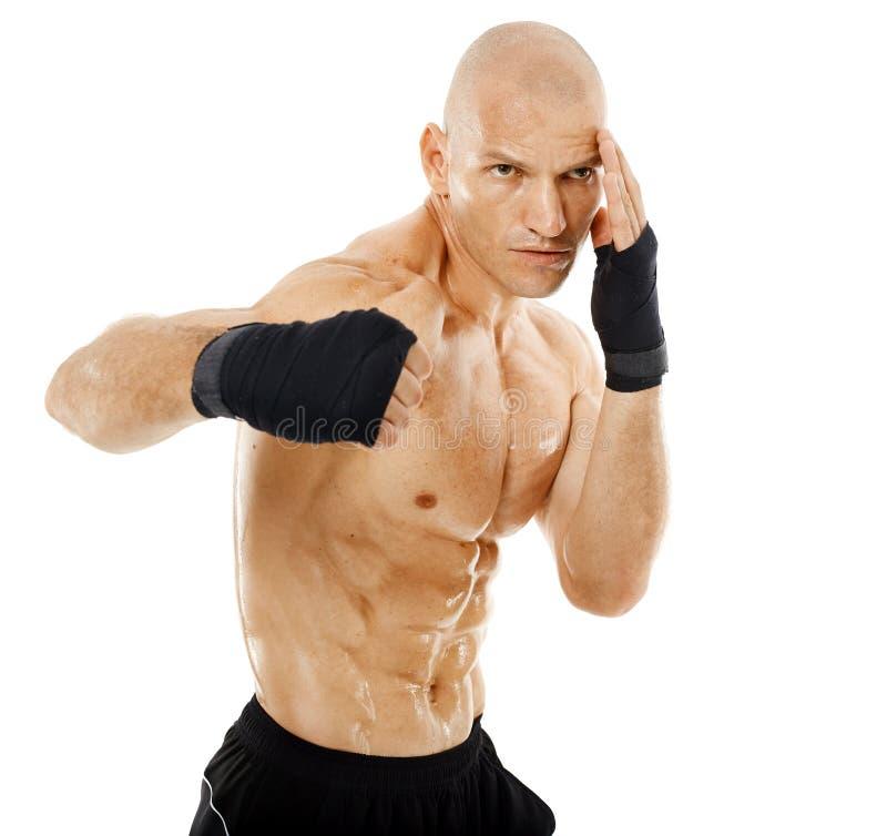 非常猛击在白色的适合的kickboxer 免版税库存图片