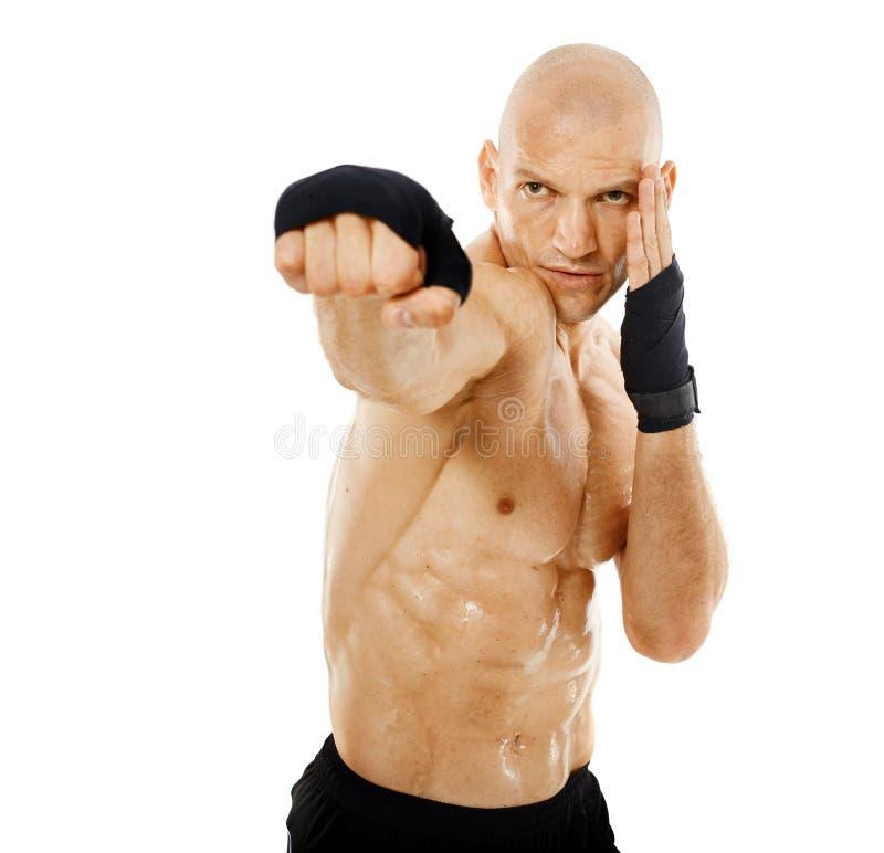 非常猛击在白色的适合的kickboxer 免版税图库摄影
