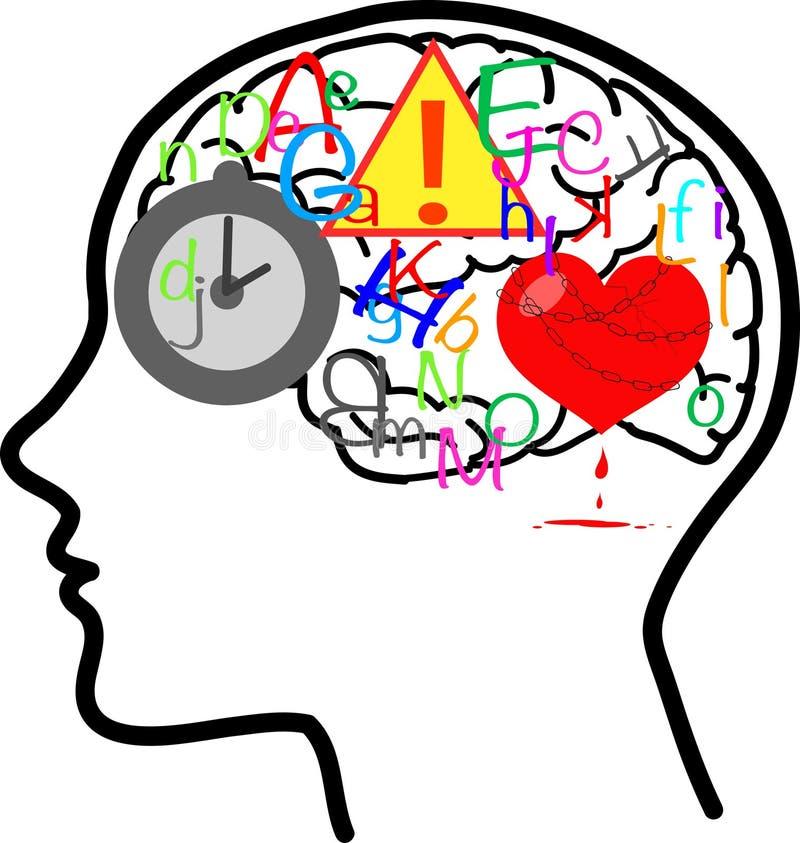 非常繁忙的脑子传染媒介 库存例证