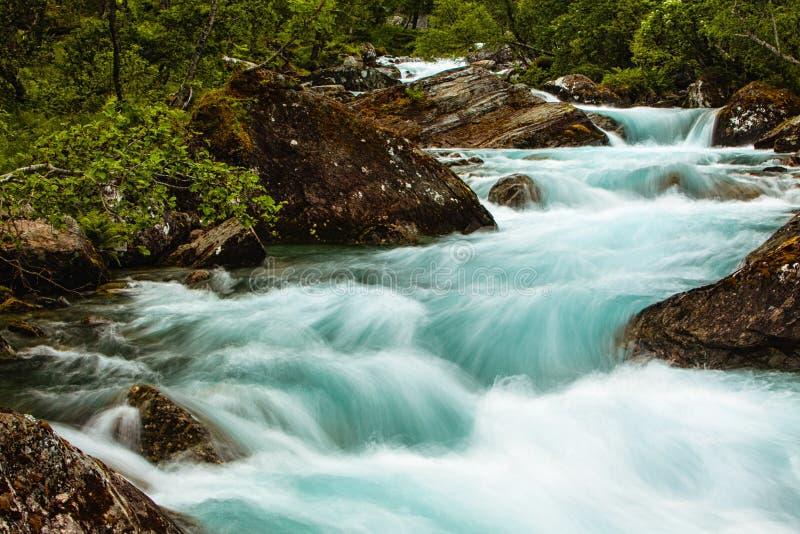 非常美丽的强有力的瀑布在有f的作用的挪威 免版税库存图片