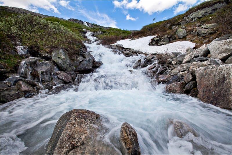 非常美丽的瀑布在挪威用快速流动的水,大岩石与地衣夏天 免版税库存图片