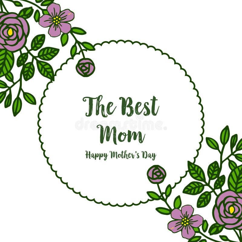 非常美好的紫色花框架的传染媒介例证海报最佳的妈妈 皇族释放例证