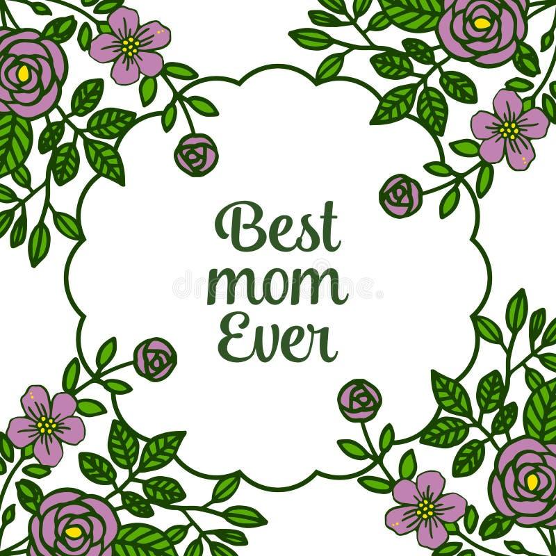 非常美好的紫色花框架的传染媒介例证海报最佳的妈妈 库存例证