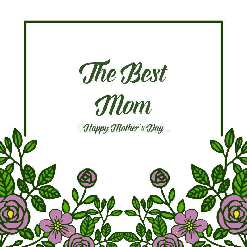 非常美好的紫色花框架的传染媒介例证海报最佳的妈妈 向量例证