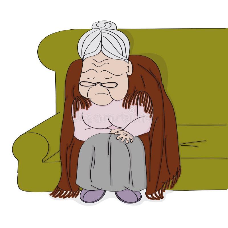 非常老灰发的资深妇女,老婆婆,坐沙发,睡觉和打鼾 她有一条毯子在她的downbent后面附近 向量例证