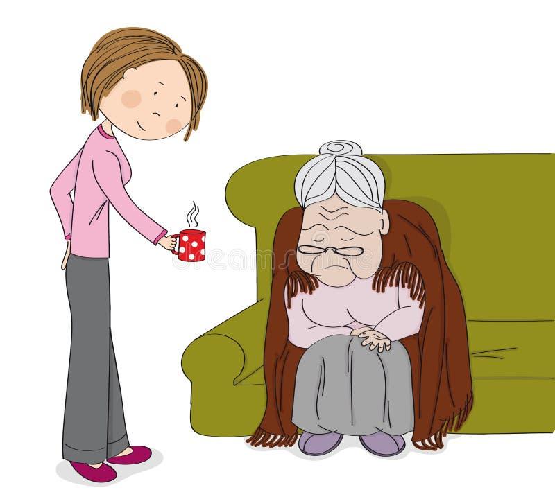 非常老灰发的资深妇女,老婆婆,坐沙发,睡觉 带来她的杯子发球区域的年轻快乐的妇女护士护工 库存例证