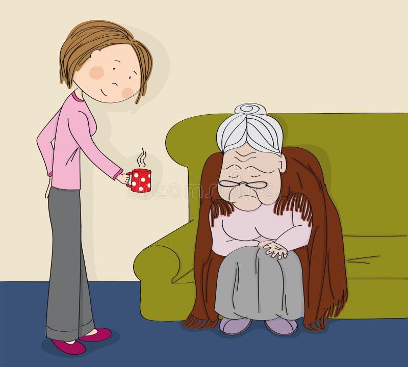 非常老灰发的资深妇女,老婆婆,坐沙发,睡觉 带来她的杯子发球区域的年轻快乐的妇女护士护工 向量例证