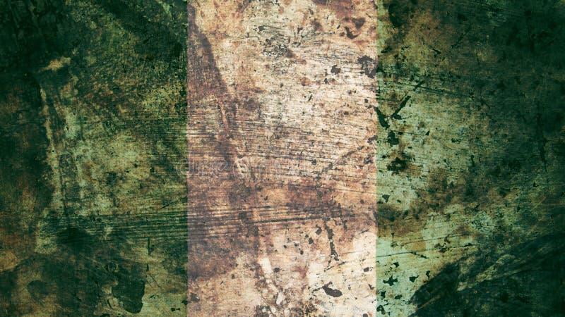 非常脏的尼日利亚旗子,尼日利亚难看的东西背景纹理 库存例证
