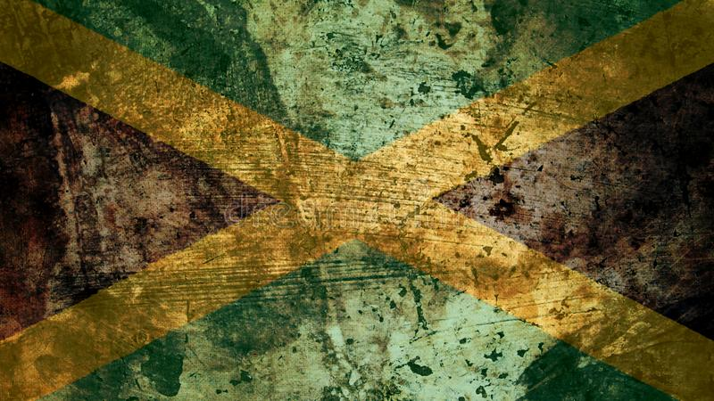非常脏的牙买加旗子,牙买加难看的东西背景纹理 向量例证