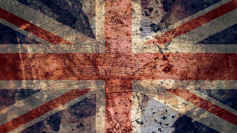非常脏的英国旗子,英国难看的东西背景纹理 库存例证