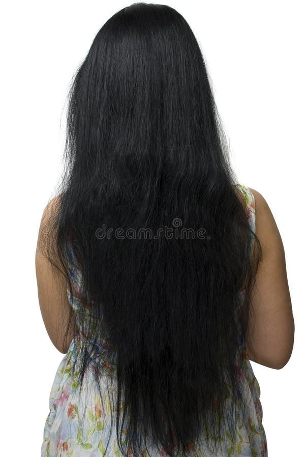 非常长期头发后方视图妇女 免版税库存照片