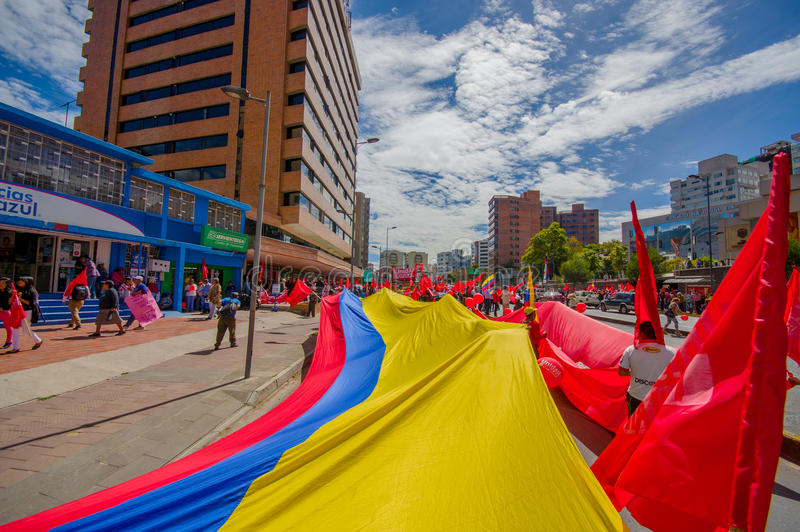 非常维持的大厄瓜多尔旗子 库存照片